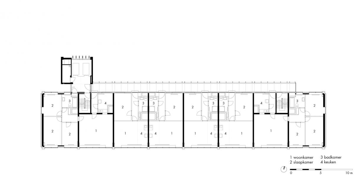 gebouw 2 | woonverdieping (1e t/m 16e)