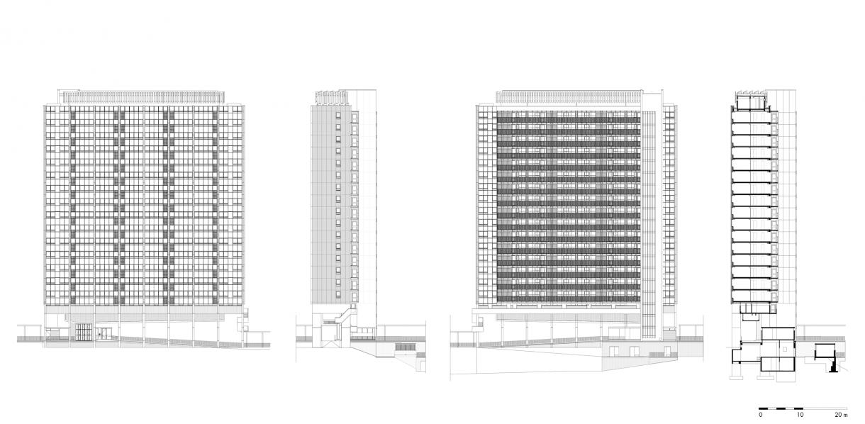 gebouw 2 | gevels en doorsnede