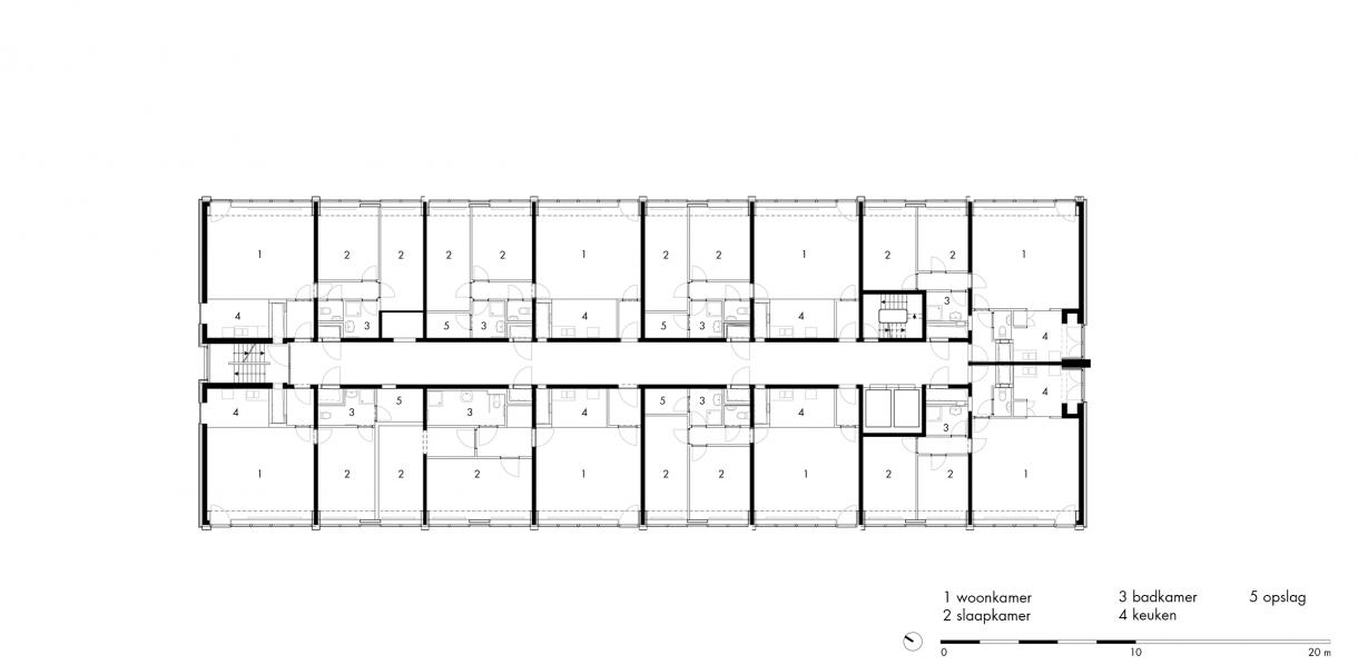 gebouw 4 | woonverdieping (1e t/m 14e)