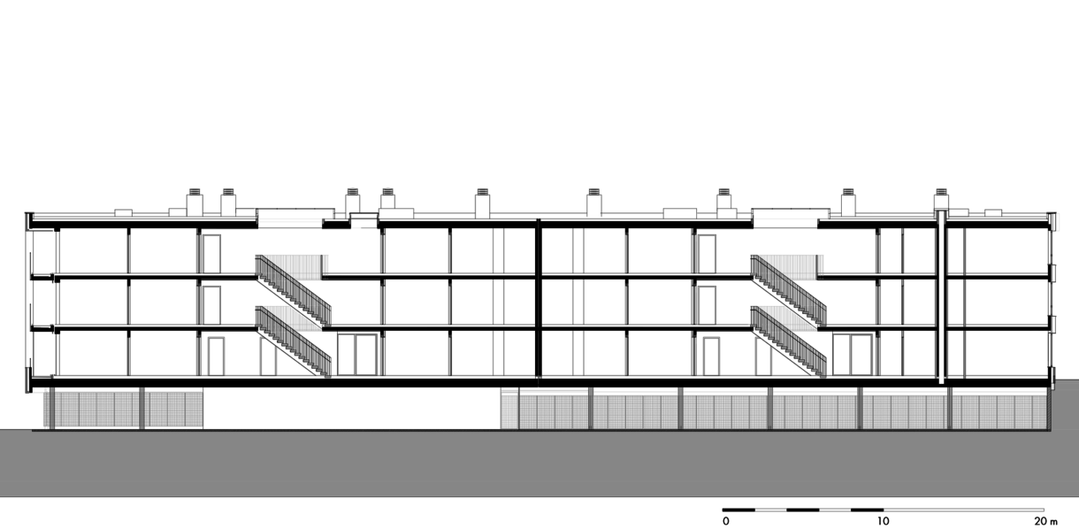 gebouw 17: langsdoorsnede